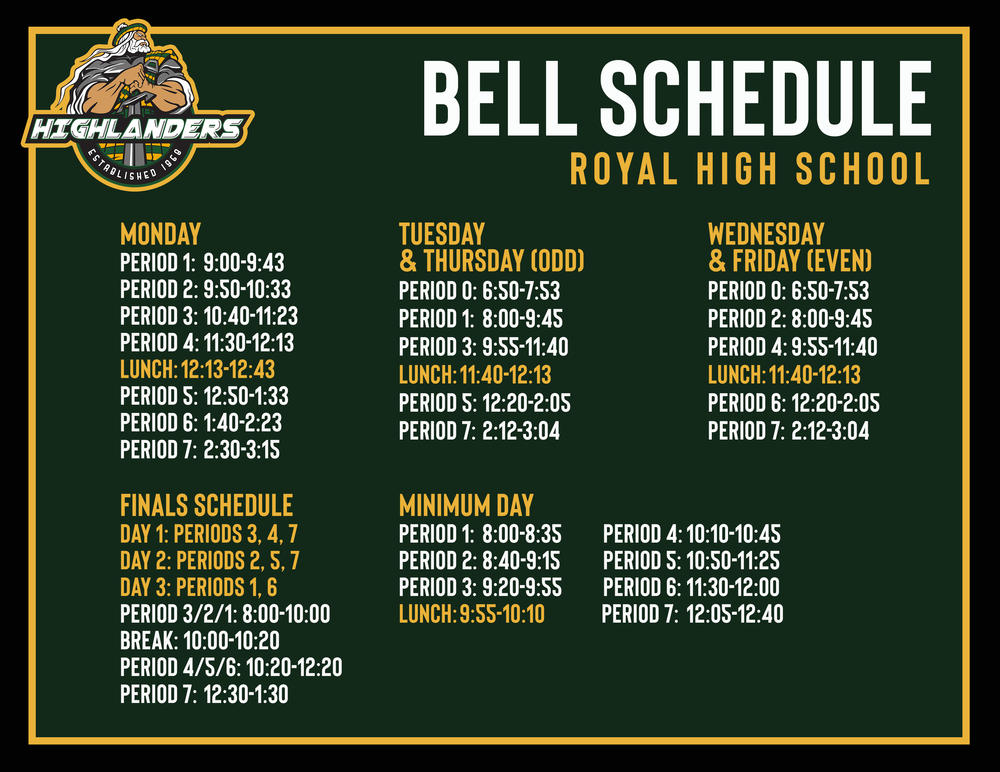 Royal Bell Schedule